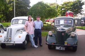 Kyleigh and Michael with 1939 Ford Prefect and 1955 Ford Popular, at the Montville Australia Day Breakfast. The Prefect has been at this function every year since 1993