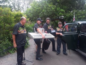 "Band is Kev Cooper, Chris Collie, Martin Leonard, Anthony Robinson and Garry Bain. Loading up at ""The Shambles"" 2015"