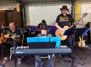 "Playing in the garage at ""The Shambles"" an Open garden"
